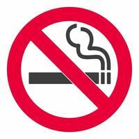 sinal de não fumar ícone de sinal branco de proibido isolado em ilustração vetorial de fundo vermelho vetor