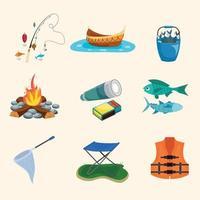 conjunto de ícones de pesca de verão vetor