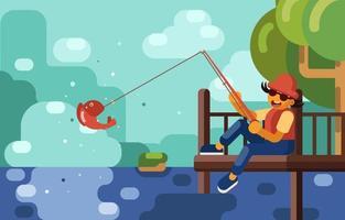 pesca de verão no convés vetor