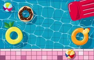 vista superior da piscina no verão vetor