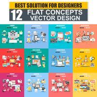 Moderno conjunto de conceito plana web banner de E-Banking, desenvolvimento de App, SEO, E-Commerce, educação, Branding, Marketing, compras