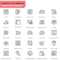 Conjunto simples ícones de linha de compras e comércio eletrônico para aplicativos móveis e de sites