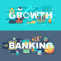 Banca e crescimento conjunto de conceito plana vetor