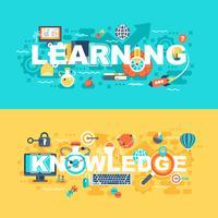 Aprendizagem e conhecimento conjunto de conceito plana vetor