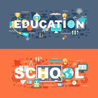 Educação on-line e escola conjunto de conceito plana vetor