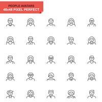 Conjunto simples de ícones de linha de Avatar de pessoas para o site e aplicativos móveis