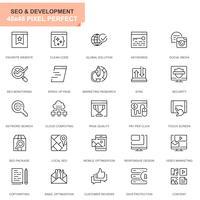 Conjunto simples Seo e ícones de linha de desenvolvimento para o site e aplicativos móveis vetor