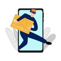 mão desenhada ladrão de dinheiro de cartões de crédito via telefone celular conceito de banco vetor