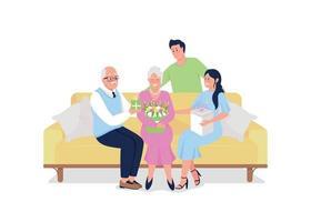 gerações familiares celebram o feriado juntos caracteres de vetor de cor plana