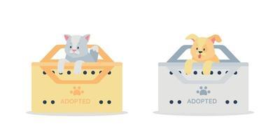 Conjunto de caracteres detalhados de vetor de gato cinza e cão dourado