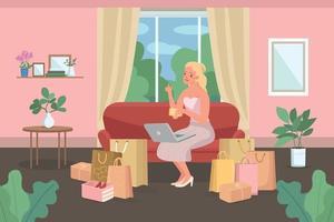 compras online em casa ilustração vetorial de cor lisa vetor