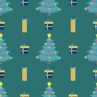 Padrão de árvore de Natal sem emenda de vetor com balões vermelhos e estrela amarela brilhante em cima de fundo verde com caixas de presente
