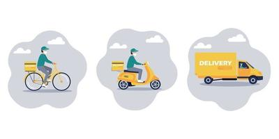 serviço de entrega online para sua casa ou escritório conjunto de ícones vetor
