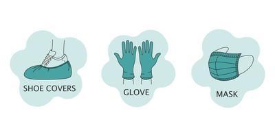 conjunto de ícones do vetor com proteção individual de luvas de látex de coronavírus, máscara médica e capas de sapato. estilo plano isolado em um fundo branco