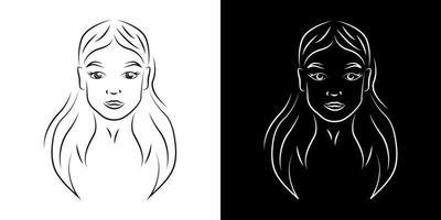 ilustração em vetor contorno jovem mulher bonita
