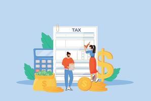 ilustração em vetor conceito plana diretriz de pagamento de impostos
