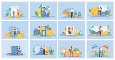 conjunto de ilustrações vetoriais de conceito plano de impostos e pagamentos vetor