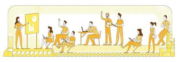 ilustração em vetor silhueta plana oficina de negócios. alunos e professor com apresentação, colegas de trabalho delinear personagens em fundo amarelo. coaching corporativo, briefing de equipe, desenho de estilo simples