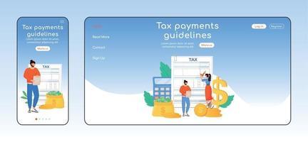 diretrizes de pagamentos de impostos modelo de vetor de cor plana adaptável para página de destino