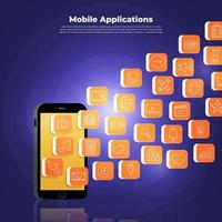 conceito de aplicativos móveis vetor