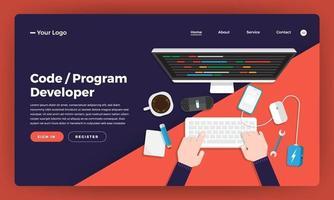 desenvolvedor de codificação e programação de design de site de design de mock-up. ilustração vetorial. vetor