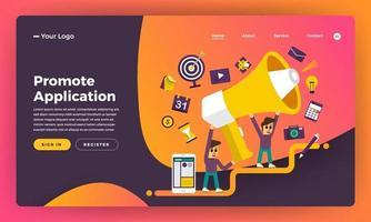 conceito de design plano de site de design de maquete promover a aplicação. ilustração vetorial. vetor
