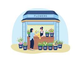 banner da web de vetor 2d de quiosque de flores, pôster