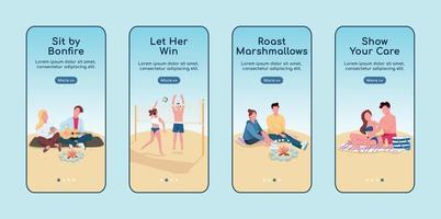 conjunto de modelo de vetor plano de encontro romântico na praia integração aplicativo móvel