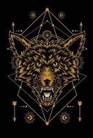desenho de ilustração de cabeça de lobo zangado vetor