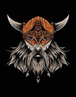 desenho vetorial cabeça de viking preta vetor