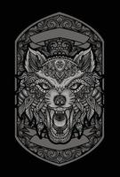 ilustração de lobo zangado com estilo de ornamento vetor
