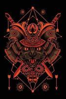 desenho de cabeça de gato samurai vetor