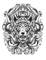 cabeça de lobo com ornamento de gravura antiga vetor