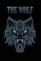 desenho vetorial cabeça de lobo zangado vetor