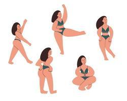 modelo plus size em cuecas. uma garota com formas curvas está envolvida em exercícios. corpo positivo. ilustração vetorial desenhada à mão vetor