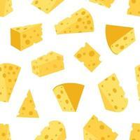 queijo de várias formas padrão sem emenda. ilustração vetorial vetor
