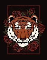ilustração cabeça de tigre com flor rosa vetor