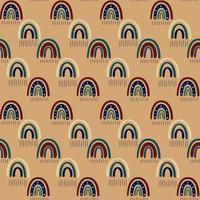 padrão sem emenda do arco-íris boho. arco-íris boêmio em tons quentes de dourado, marrom e amarelo da moda. ilustração vetorial moderna para têxteis, papel, design de impressão vetor