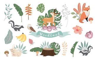 coleção de objetos de floresta fofa com urso vetor