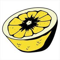 fatia de limão amarelo limão para chá vitamina c frutas cítricas estilo cartoon vetor