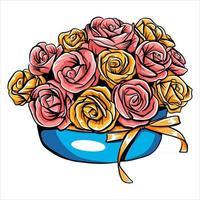buquê com rosas em uma cesta de presente para uma mulher com flores frescas em estilo artesanal vetor