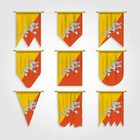 bandeira do butão em diferentes formas, bandeira do butão em várias formas vetor