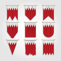 bandeira do Bahrein em diferentes formas, bandeira do Bahrein em várias formas vetor