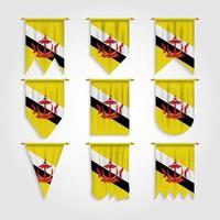 bandeira do brunei em diferentes formas, bandeira do brunei em várias formas vetor