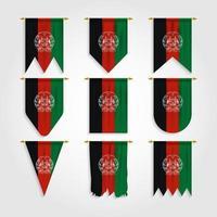 bandeira do Afeganistão em diferentes formas, bandeira do Afeganistão em várias formas vetor