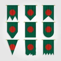 bandeira de bangladesh em diferentes formas, bandeira de bangladesh em várias formas vetor