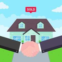 compra de casa nova à venda duas mãos tremendo grande acordo acordo estilo plano ilustração vetorial nova casa atrás vendido para novo senhorio ou proprietário de casa boa parceria e conceito de negócio bem-sucedido vetor