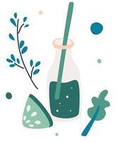 Smoothie vegetal verde smoothie detox coquetel frutas e vegetais verdes misturados em frasco de vidro coquetel para energia e dietas ilustração vetorial em estilo simples vetor