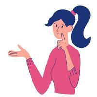 jovem duvida curioso jovem resolvendo problema escolha pensando duvida problema conceito personagem feminina fazendo perguntas cartoon plana vetor