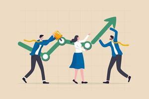 as pessoas do processo de desenvolvimento de negócios ajudam a construir ou desenvolver um gráfico de crescimento da empresa com a seta ascendente vetor